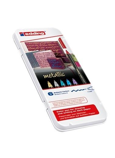 Edding  E-1200 Metalik Keçeli Kalem 6 Lı Renkli